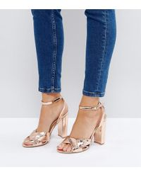 The March - Rose Gold Block Heeled Sandals - Lyst