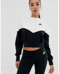 c46583d998638 Nike - Heritage Black And White Colourblock Sweatshirt - Lyst