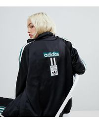 adidas Originals - Adidas Original Three Stripe Track Jacket With Vintage Logo In Black - Lyst