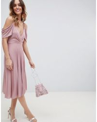 efe7a7f5e290 ASOS Double Layer Pleated Cami Midi Dress in Pink - Lyst