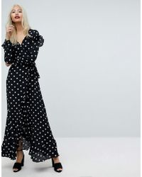 ASOS - Asos Maxi Dress With Ruffle Detail And Open Back In Spot - Lyst