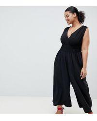 ASOS - Asos Design Curve Ruched Waist Plunge Jumpsuit - Lyst