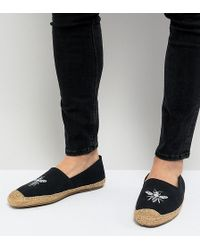 Frank Wright - Wide Fit Embroided Espadrilles In Navy - Lyst