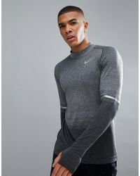 Nike - Dri-fit Long Sleeve Top With Mock Neck In Grey 885304-060 - Lyst
