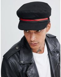 ASOS - Cappello alla marinara in lana melton nero con fascia a righe - Lyst