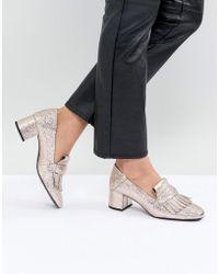 Mango - Metallic Mid Heel Loafers - Lyst