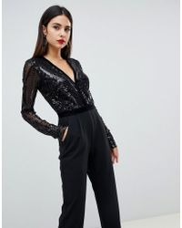 Goddiva - Sequin Embellished Plunge Jumpsuit In Black - Lyst