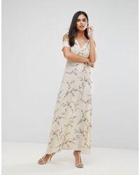 AX Paris | Cold Shoulder Floral Maxi Dress With Tie Waist | Lyst