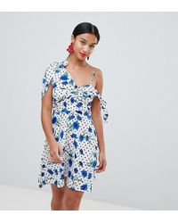 Boohoo - Polka And Floral Cold Shoulder Mini Dress - Lyst