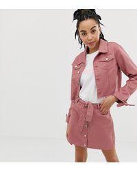 Urban Bliss - Cropped Denim Jacket With Tie Cuff Detail - Lyst