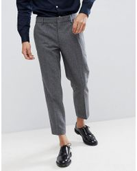 Farah - Cropped Trousers In Wool Mix Slim Fit - Lyst