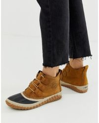 d96a84aa92d9 Sorel - Out N About Plus Camel Leather Lace Up Ankle Boots - Lyst