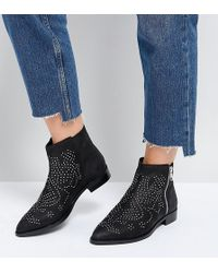 bfc011a3e22c ASOS - Asos Auto Pilot Wide Fit Suede Studded Ankle Boots - Lyst