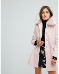 Miss Selfridge - Faux Fur Collar Pea Coat - Lyst