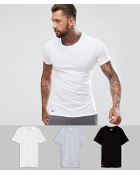 Lacoste - T-shirts Essentials 3 Pack In Slim Fit With Crew Neck - Lyst