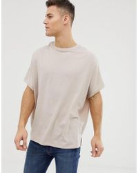 ASOS - Extreme Oversized T-shirt With Crew Neck In Beige - Lyst
