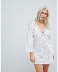 Liquorish - Crochet Effect Beach Dress - Lyst