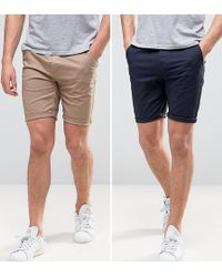 ASOS - 2 Pack Skinny Chino Shorts In Navy & Stone Save - Lyst