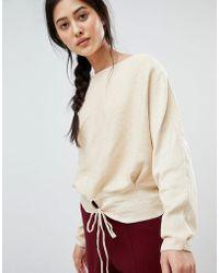 Mango - Tie Front Sweater In Beige - Lyst