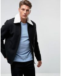 French Connection - Wool Harringon With Borg Collar - Lyst