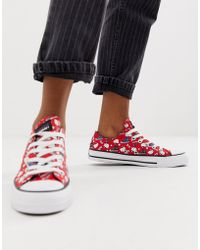 726f0eb471ec Converse - X Hello Kitty Chuck Taylor Ox Red All Over Print Trainers - Lyst