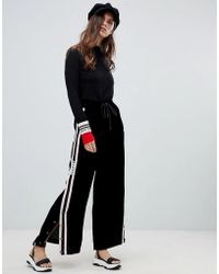Miss Sixty - Wide Leg Trouser With Popper And Seam Detail - Lyst