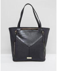Lipsy - Black Zip Front Panelled Shopper - Lyst
