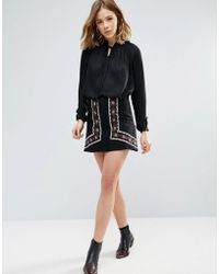 First & I - Embroidered Mini Skirt - Lyst