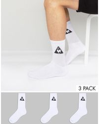 Le Coq Sportif - 3 Pack Crew Socks In White 1520739 - Lyst