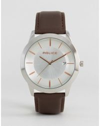 Police - Watch With Brown Leather Strap - Lyst