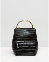 Mango - Croc Detail Metal Handle Backpack - Lyst
