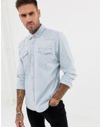 Pull&Bear - Denim Western Style Shirt In Blue - Lyst