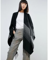 Pieces - Fringed Effect Oversized Cape - Lyst