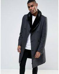 Criminal Damage - Overcoat With Fur Collar - Lyst