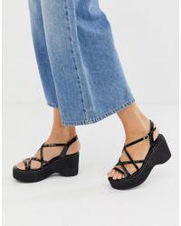 New Look - 90s Flatform Sandal In Black - Lyst