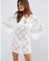 Floozie - Lace Longsleeve Beach Dress - Lyst