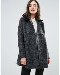 Girls On Film - Coat With Faux Fur Trim - Lyst