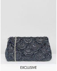 Amelia Rose - Tonal Beaded Embellished Clutch Bag - Lyst