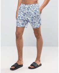 Pretty Green - Paisley Swim Shorts Paisley Print In Blue - Lyst