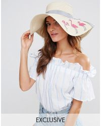 South Beach - Straw Hat With Flamingos - Lyst