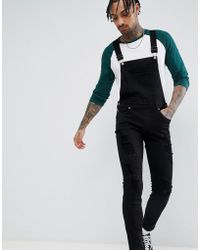 Dr. Denim - Ira Skinny Ripped Dungaree Jeans In Black - Lyst