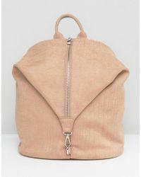 LAMODA - Faux Suede Zip Detail Fold Backpack - Lyst