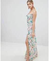 PrettyLittleThing - Floral Maxi Dress With Side Split - Lyst