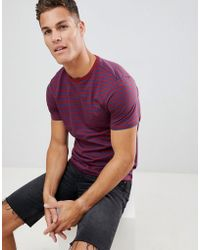 New Look - T-shirt With Stripe In Burgundy - Lyst