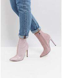 Public Desire - Yuri Lilac Contrast Stiletto Heeled Ankle Boots - Lyst