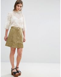 Oeuvre - Oeurve Faux Suede Mini Skirt - Lyst