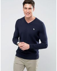 Abercrombie & Fitch - V-neck Fine Gauge Jumper With Moose Embroidery In Navy - Lyst