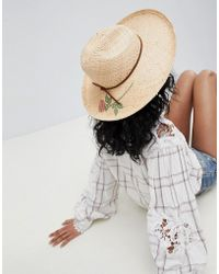 9e22d2f4f42 Brixton - Straw Fedora Hat With Printed Rose - Lyst