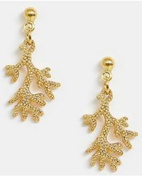 ASOS - Sterling Silver With Gold Plate Earrings With Coral Drop - Lyst
