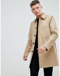 ASOS - Design Shower Resistant Single Breasted Trench In Stone - Lyst